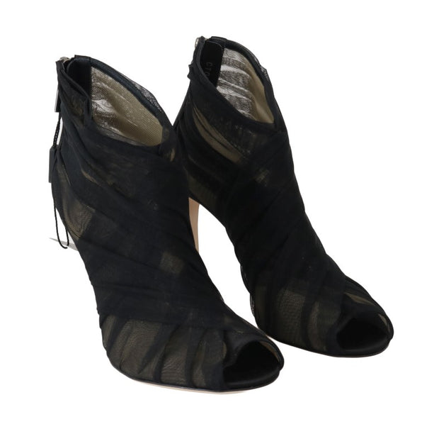 Black Peep Toes Stilettos Booties