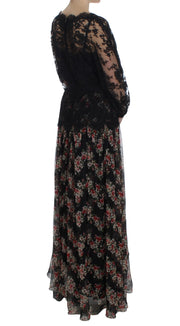 Floral Lace Silk Long Maxi Dress