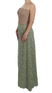Green Floral Lace Pink Corset Maxi Dress