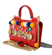 Red VON Leather Crystal Carretto POM POM Bag