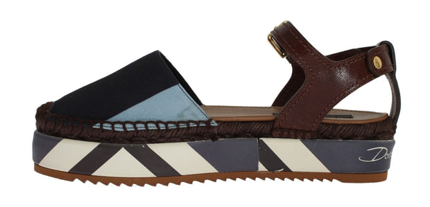 Blue Striped Espadrilles Sandals