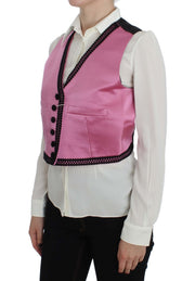 Pink Silk Button Front Torero Vest Top