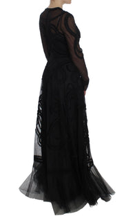 Black Netted Torero Full Length Maxi Dress