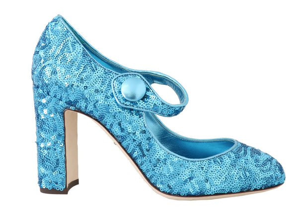 Blue Sequined Mary Janes Shoes