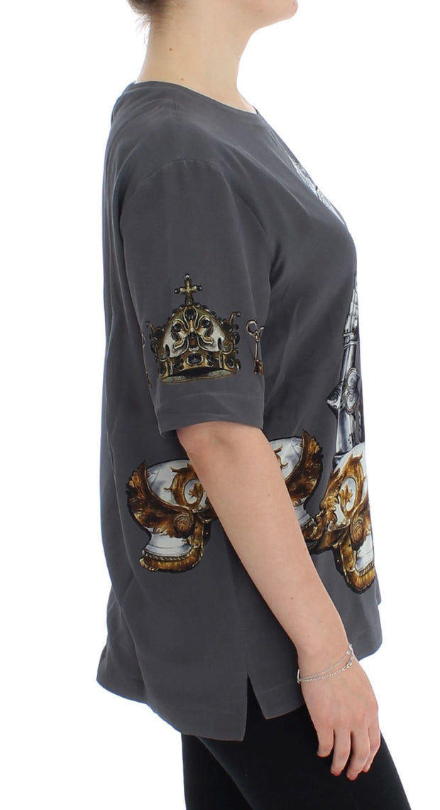 Gray Knight Crown Print Silk Blouse Top