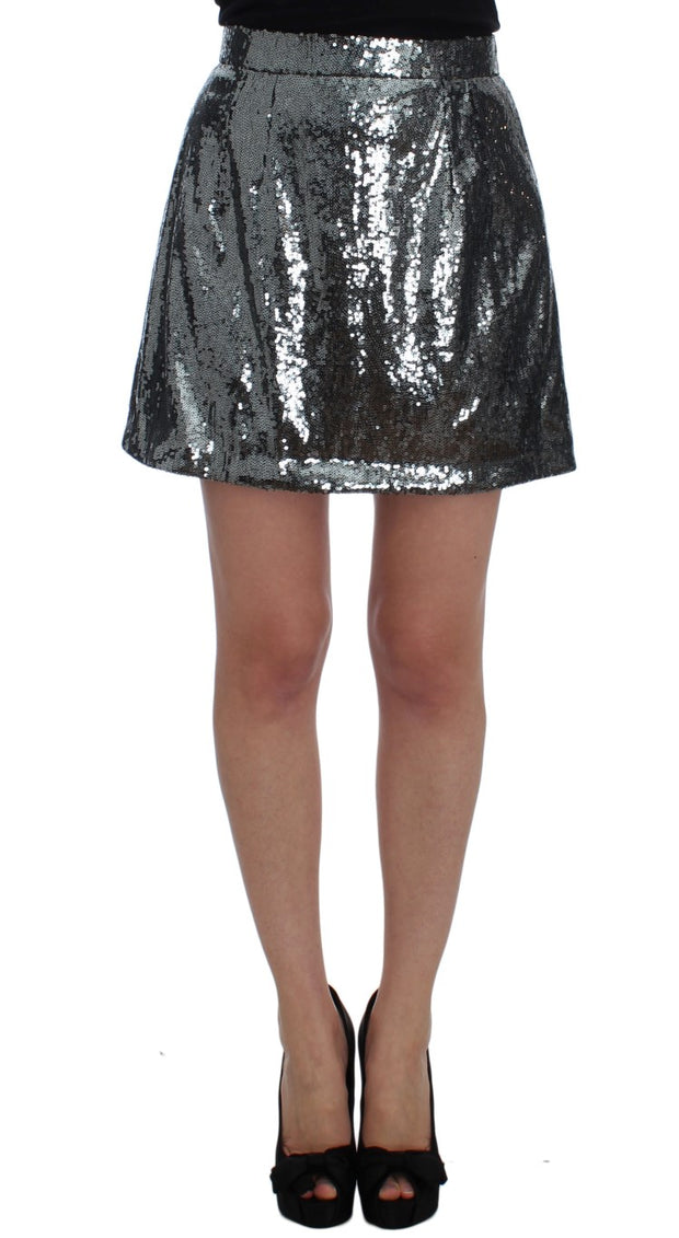 Gray Silver Sequined A-Line Skirt