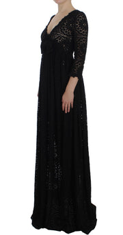 Black Ricamo Knitted Full Length Maxi Dress