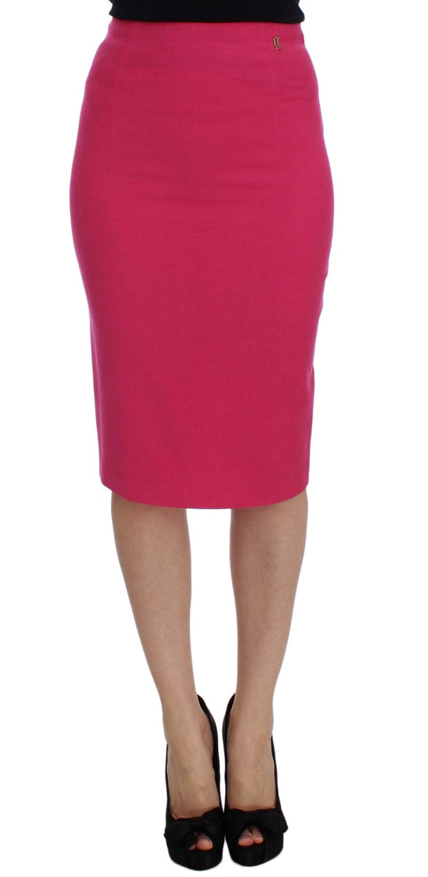 Pink Wool Stretch Pencil Skirt