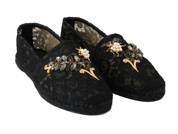Black Crystal Espadrilles Shoes