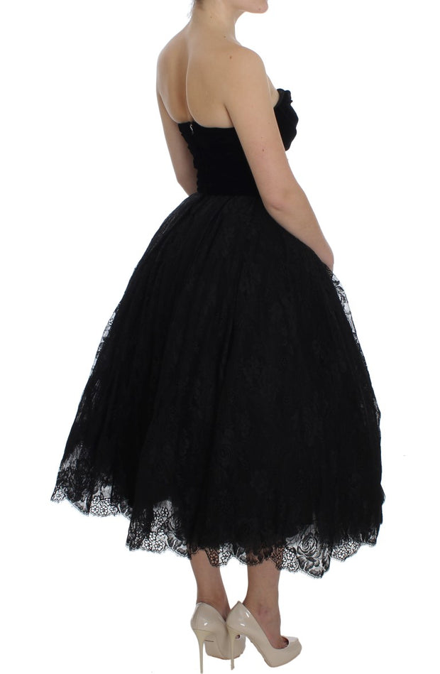 Black Floral Lace Corset Pouf Ball Dress