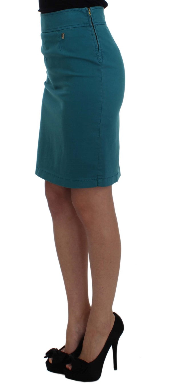 Blue Cotton Stretch Pencil Skirt