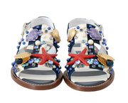 Multicolor Leather Crystal Sandals
