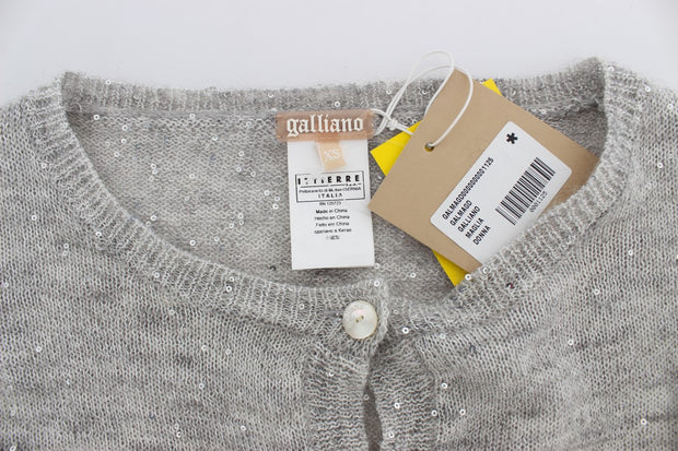 Gray Cropped Knitted Cardigan Sweater