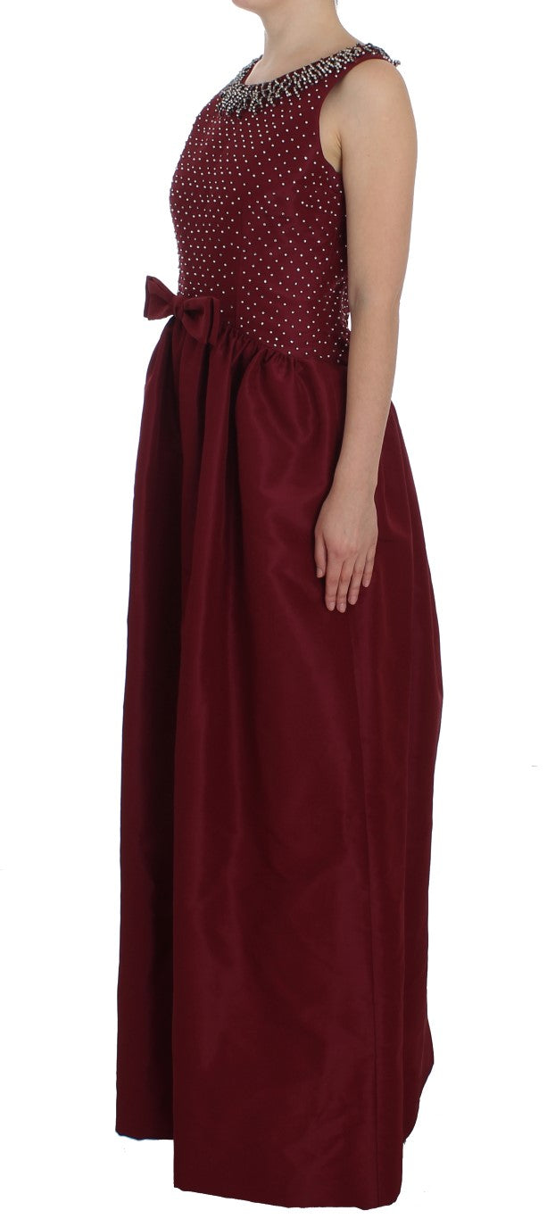 Bordeaux Crystal Ball Gown Full Dress