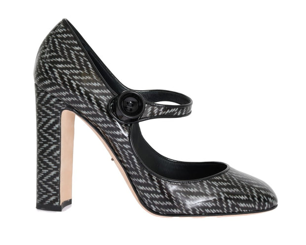 Gray Black Pattern Leather Pumps
