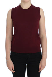 Red Sleeveless Crewneck Vest Pullover