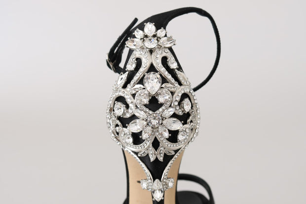 Black Ankle Strap Crystal Sandals
