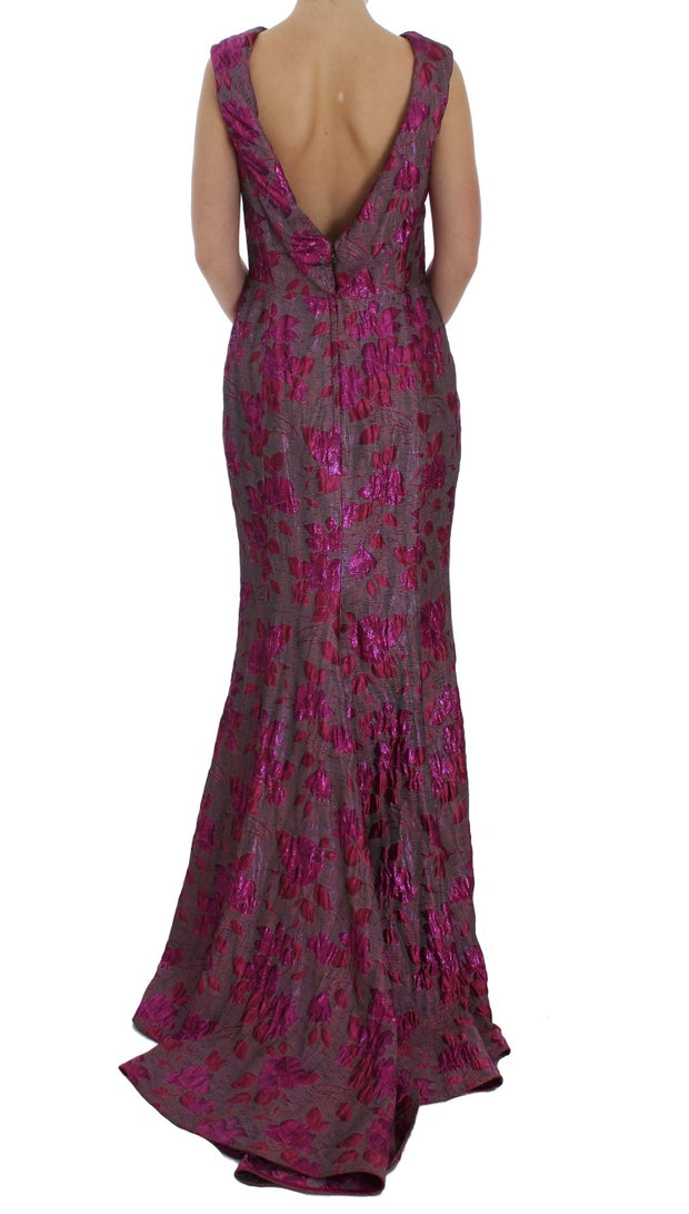 Pink Floral Brocade Sheath Gown Dress