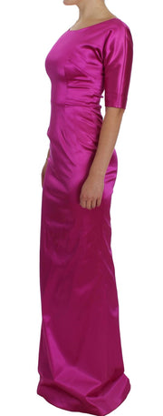 Pink Stretch Long Sheath Ball Gown Dress