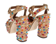 Beige Cork Studded Strap Sandals