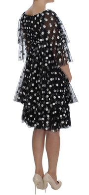 Black White Polka Dotted Ruffled Dress