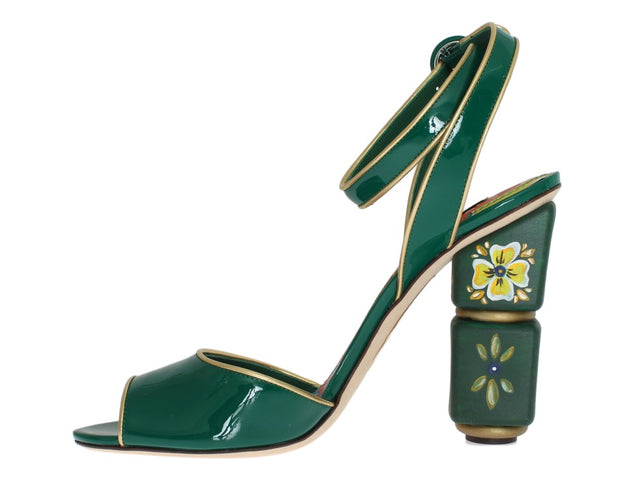Green Leather Handpainted Shoes