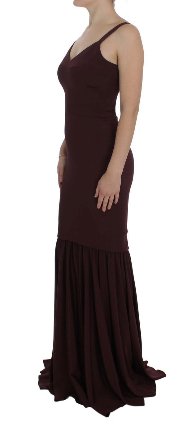 Bordeaux Stretch Full Length Sheath Dress