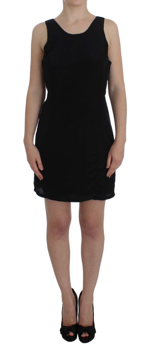 Black Polyester Above Knee Mini Dress