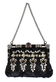 Black crystal VANDA clutch bag