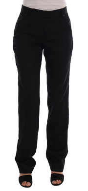 Black Wool Straight Formal Pants