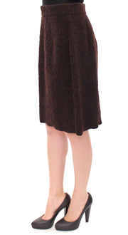 Brown Fur Above Knee Zipper Skirt
