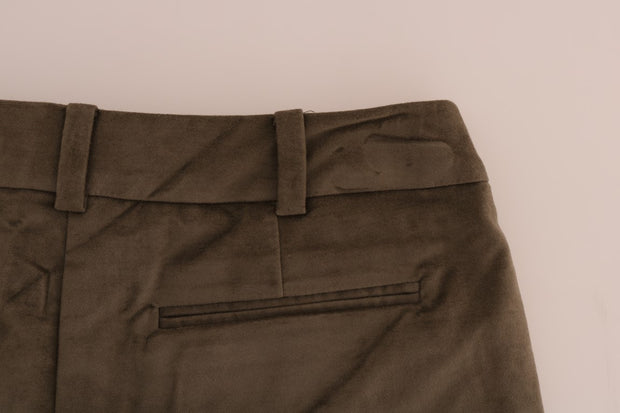Brown Velvet Bermuda Shorts