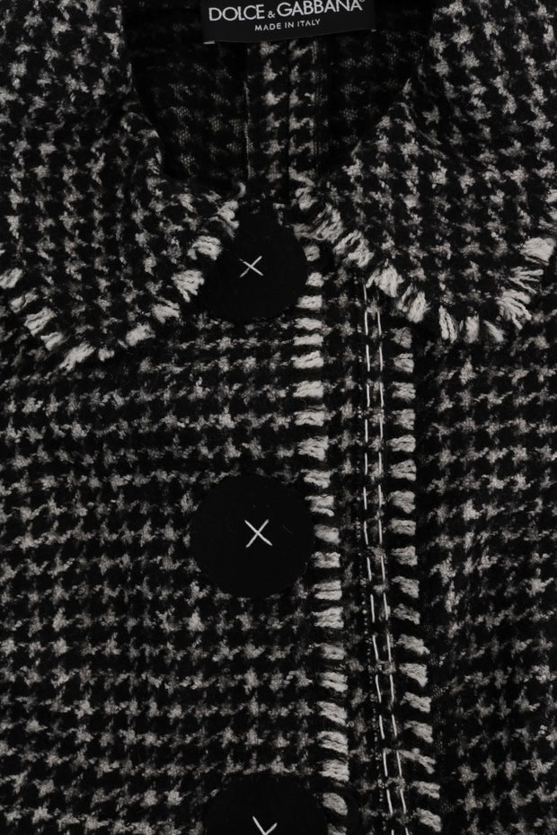 Gray Black Tweed Vest Jacket