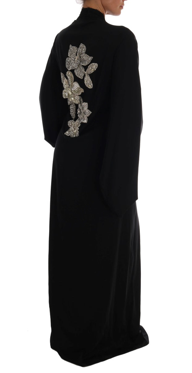 Black Floral Lace Silk Crystal Dress
