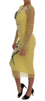 Yellow Floral Tulip Stretch Dress