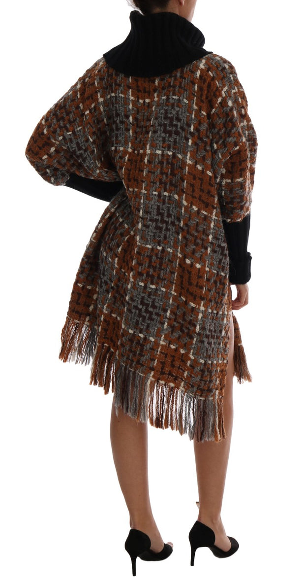Brown Wool Cashmere Sweater Poncho