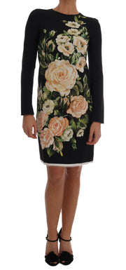 White Roses Print Viscose Sheath Dress