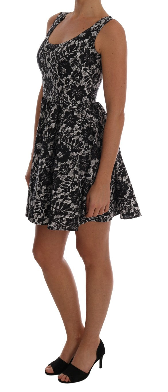 Black White Floral Print Cotton Dress