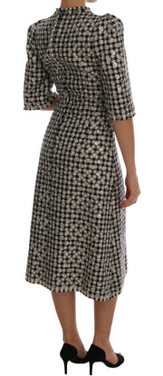 Black White Sequined Sheath Wool Dress