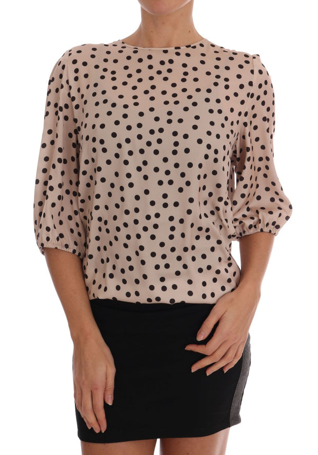 Beige Polka Dotted Silk Blouse