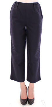Blue Cropped Cotton Pants