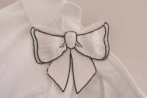 White Beaded Bow Cotton Shirt Dress