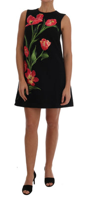 Black Wool Stretch Pink Tulip Print Dress