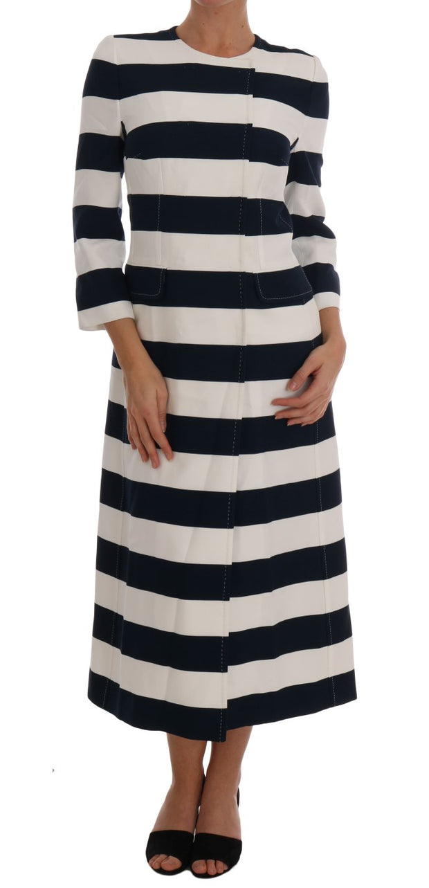 Blue White Striped Stretch Coat