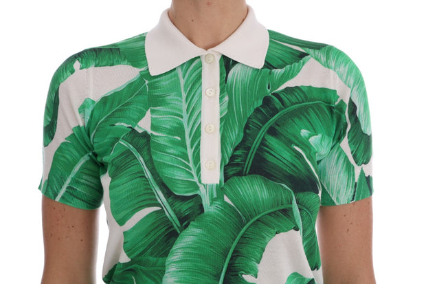 Banana Print Silk Polo T-Shirt