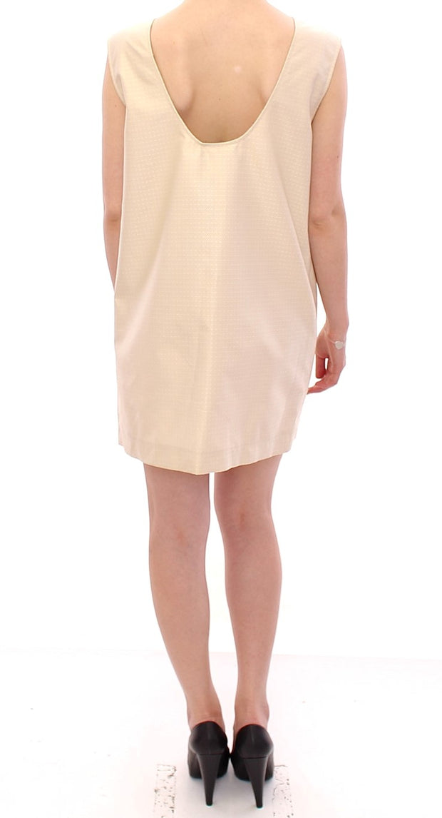 Beige Sleeveless Shift Mini Dress