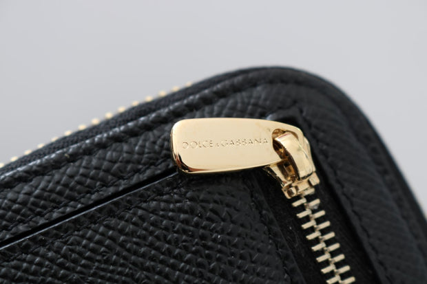 Black Leather Zipper Continental Wallet
