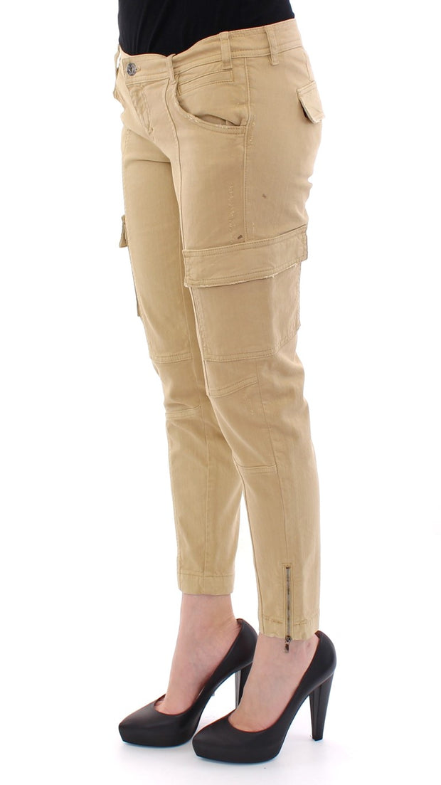 Beige Cotton Cargo Cropped Pants