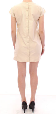 Beige Cap Sleeves Shift Mini Dress