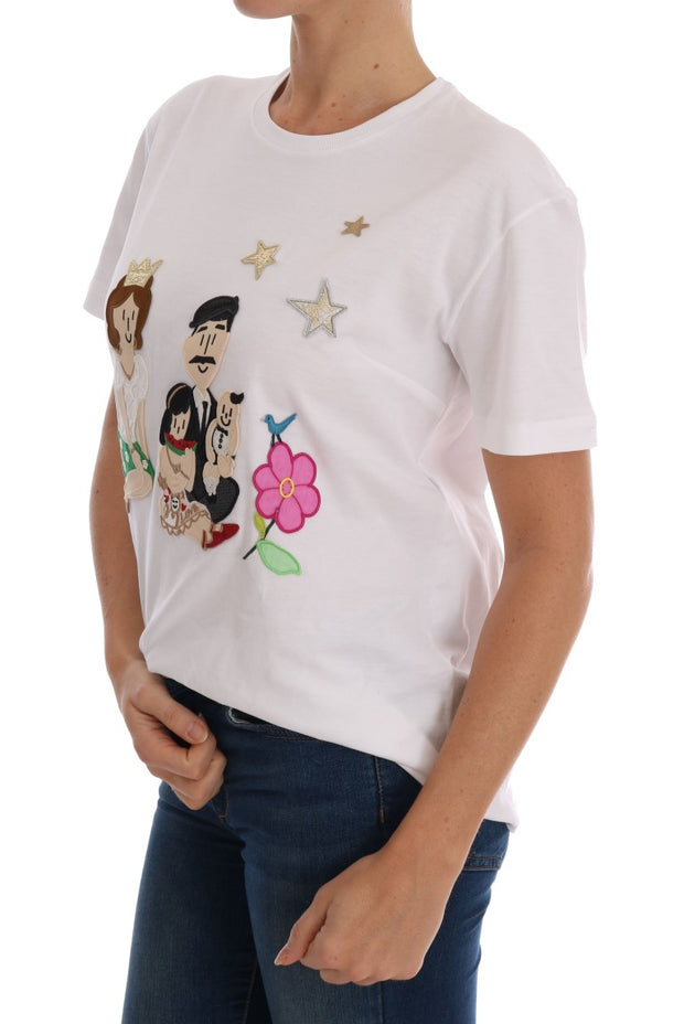 White Cotton DG FAMILY Embroidered T-Shirt